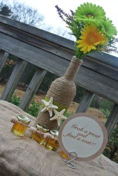 Burlap Wedding Table Centerpiece - beach wedding favors ideas, Printed table tags for rustic wedding, 2014 valentine's day ideas www.loveitsomuch.com
