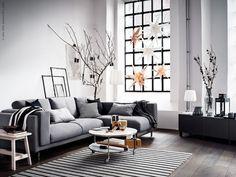 NOCKEBY 2-zitsbank met chaise longue | Deze pin repinnen wij om jullie te inspireren. IKEArepint IKEA IKEAnederland woonkamer kamer inspiratie wooninspiratie zwart wit grijs bank zitbank trendy hip design