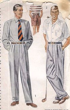 Mccalls 3995 1950s Mens Shirt And Cuffed Pants Pattern