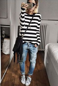 stripped top with baggy jeans cozy style