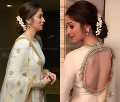 Looking for easy hairstyles to try with your anarkali suits? check out 9 easy DIY hairstyle ideas along with videos to perfect your anarkali style. White Anarkali, Anarkali Dress, Simple Anarkali, Silk Anarkali Suits, Neck Designs For Suits, Dress Neck Designs, Indian Hairstyles, Wedding Hairstyles, Hairstyles With Lehenga