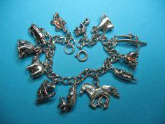 Vintage Sterling Silver Mother & Baby Animal Theme Charm Bracelet
