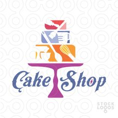 Logo For Sale: Baking tools such as a whisk, rolling pin, spoon, stand mixer, measuring cup and brush are used to create and decorate the three tier Cake.