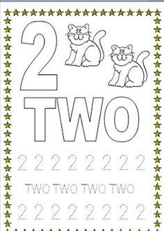 Números en inglés. 2 dos, two.