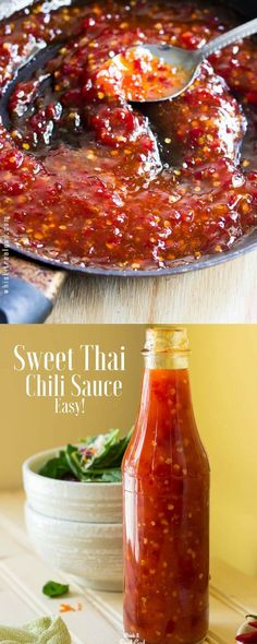 If you're a fan of sweet Thai chili sauce, you gotta try mine! It can be used in so many dishes! My homemade sweet Thai chili sauce tastes so much better than store brands and it's EASY! Thai Sauce, Thai Sweet Chili Sauce, Sweet Chili Sauce Recipe Easy, Thai Chili Recipe, Chili Paste Recipe, Thai Dipping Sauce, Hot Sauce Recipes, Sweet Sauce, Thai Recipes