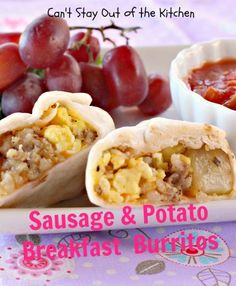 Sausage and Potato Breakfast Burritos - delicious entree. via Can't Stay Out of the Kitchen Breakfast Potatoes, Breakfast Burritos, Breakfast Dishes, Breakfast Time, Breakfast Casserole, Breakfast Recipes, Breakfast Ideas, Vegetarian Breakfast, Sausage Breakfast
