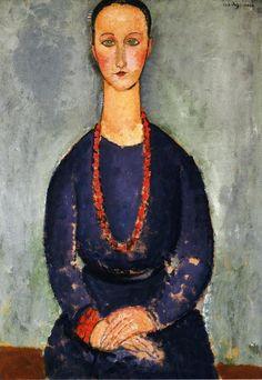 'frau mit a rot halskette', öl auf leinwand von Amedeo Modigliani (1884-1920, Italy)