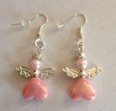 Pastel Pink Angel Earrings - The Supermums Craft Fair