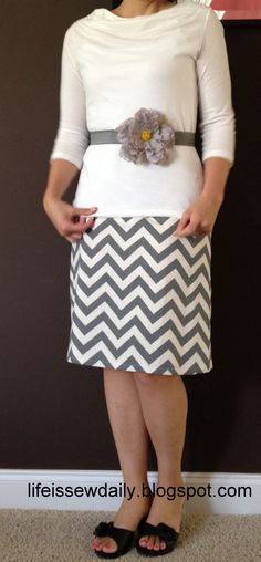 Life is {Sew} Daily: Chevron Skirt {Tutorial} Cute outfit!