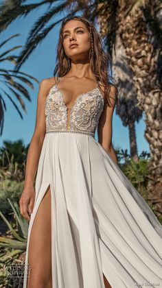 asaf dadush 2018 bridal spaghetti strap deep plunging sweetheart neckline heavily embellised bodice double slit slirt romantic soft a line wedding dress open strap back sweep train (10) zv -- Asaf Dadush 2018 Wedding Dresses