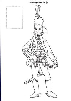 Magyar huszárok Metal Embossing, Paper Dolls, Hand Embroidery, Coloring Pages, March, Education, People, Europe, Projects
