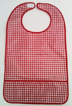 """Adult bib with velcro neck ~ made of high quality Oil Cloth 25"""" long from tip to tip 15"""" across 6-inch deep pocket Excellent for special needs, nursing homes, e"""