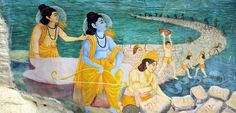Painting illustrating the ancient Indian poem the Ramayana