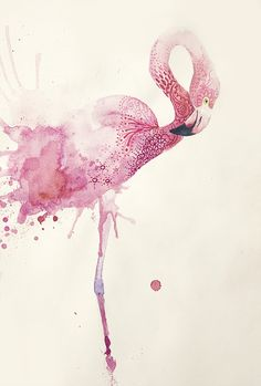 """flamingo"" by Annelie Solis, Watercolor Painting Watercolor Bird, Watercolor Animals, Watercolor Paintings, Watercolors, Watercolour Drawings, Painting & Drawing, Flamingo Art, Pink Flamingos, Flamingo Tattoo"