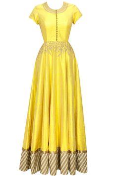Yellow dori embroidered anarkali gown with beige dupatta by Anoli Shah. Shop now: www.perniaspopups.... #anarkali #beautiful #designer #anolishah #pretty #clothing #shopnow #perniaspopupshop #happyshopping