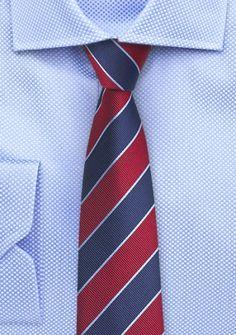 Businesskrawatte Business-Streifen kirschrot navyblau