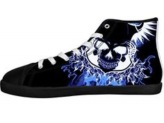Men's Canvas Shoes Horrific Skull Rock Band Metallica Print High Top Sneakers  #skull #fashion #shoes