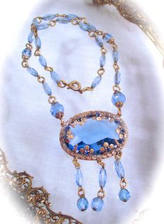 Vintage CZECH GLASS NECKLACE Art Deco Era by DaffodilsVintage, $195.00
