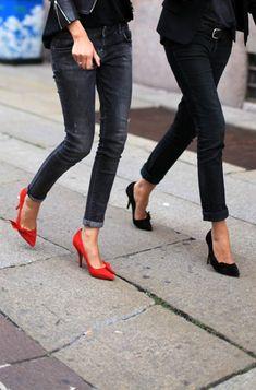 denim + colour shoes