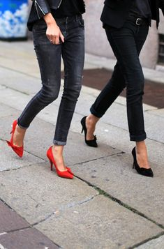 denim + colour shoes
