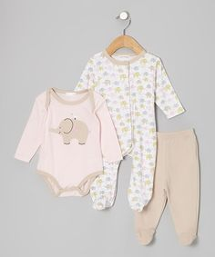 Loving this Pink Elephant Footie Set - Infant on #zulily! #zulilyfinds