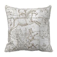 Star Map Unicorn Dog Canis Silver Gray Drawing Throw Pillow