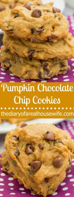 AWESOME Pumpkin Chocolate Chip Cookies. I made these last week and EVERYONE was asking for the recipe. So good!