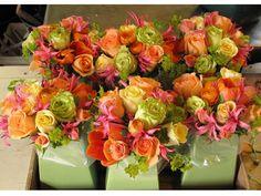 Pink, orange, yellow, and green reception wedding flowers,  wedding decor, wedding flower centerpiece, wedding flower arrangement, add pic source on comment and we will update it. www.myfloweraffair.com can create this beautiful wedding flower look.