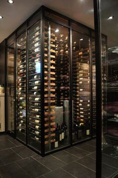 Glass wine room in the dining room -2- - contemporary - wine cellar - montreal - millesime wine racks