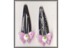 Butterfly Girls Black Glitter Hair Clips