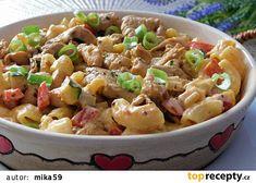 Krémové těstoviny s kuřecím masem recept - TopRecepty.cz Penne, Pasta Salad, Potato Salad, Pizza, Potatoes, Meat, Ethnic Recipes, Food, Bulgur