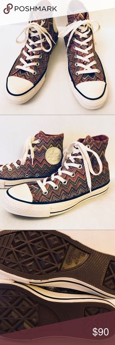 NEW Missoni Converse zigzag lurex hi top sneakers Size 5.5, new and never used. Lurex shine thread through fabric. Orig $200 Missoni Shoes Sneakers