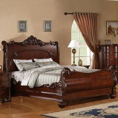 Hazelwood Home Panel Bed Wood Sleigh Bed, Sleigh Beds, Sillas Chippendale, Murphy-bett Ikea, Modern Murphy Beds, Murphy Bed Plans, Wood Beds, Decorate Your Room, Bed Styling