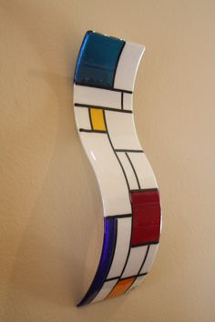 Fused Glass Wall Art/ Sculpture De Stijl White by JMFusions, $150.00