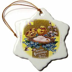 3dRose orn_42954_1 Cross and Birds Easter Greetings Snowflake Ornament Porcelain 3 * You can get more details by clicking on the image.