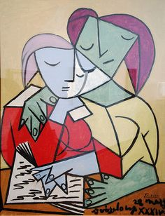 Picasso: Two Girls Reading a book on abstract expressionism. Note how the words become increasingly squiggly.