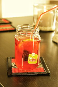 Cranberry flavored iced-tea.  Drinks
