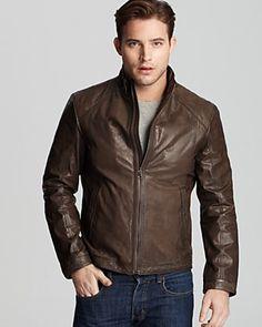 HUGO BOSS - brown leather jacket