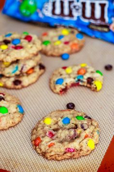Chewy Oatmeal M+M Cookies. Easy, soft, and chocolatey.