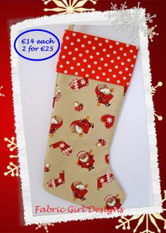 www.facebook.com/fabricgirldesigns Santa Christmas stocking, 16 x 9 inches, 100% cotton, fully lined with hanging loop. Machine washable. Matching bunting available.