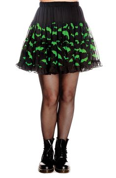 Hell Bunny Black Green Lace Gothic Punk Short Bat Chiffon Ruffle Skirt (Xsmall/Small) at Amazon Women's Clothing store: