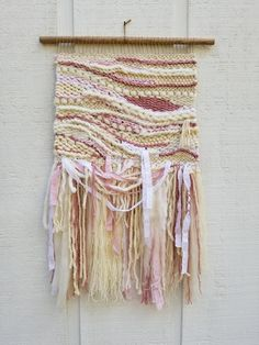 Rose Quartz Woven Wall Hanging by MossHound Designs #wovenwallhanging #pink #rosequartz #wallart