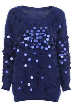 Faux Mohair Dark-blue Jumper with Sequins