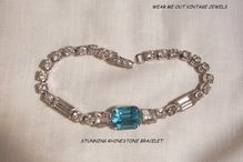 October sale many items reduced from 20 to 60% off Visit my Ruby Plaza Shop Link on home page Beautiful circa 40's Art Deco style Aqua and clears Rhinestone Link Bracelet