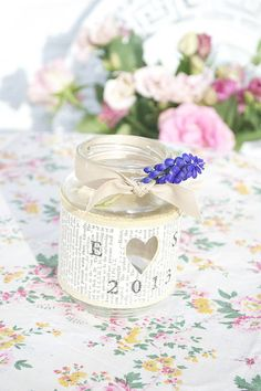 Personalised Recycled Jam Jar Candle Holders