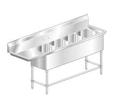 "AERO Mfg. Aerospec Sink 4-bowl - 2F4-2020-36L  Aerospec Sink, 4-bowl, with 36"" LH drainboard, 20"" W x 20"" L-R bowl dimensions, 14"" D fabricated bowl, 10"" H splash, s/s gussets, crossbraced legs & adjustable feet, 14/304 s/s, ""Aero Safety Edge"", Space Saver const, fully welded gussets, shipped KD, NSF"