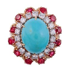 Glorious 1960s Turquoise, Ruby and Diamond Cluster Ring