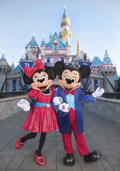 Mickey Mouse and Minnie Mouse look dazzling in their sparkling, new costumes, created especially for the Diamond Celebration at the Disneyland Resort!