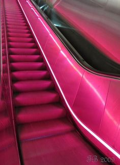image description: escalator illuminated by a pink neon light running parallel to the stairs Aesthetic Colors, Aesthetic Collage, Aesthetic Vintage, Aesthetic Pictures, Aesthetic Grunge, Pastel Pink, Pink Purple, Magenta, Hot Pink