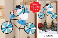Bicycle Snowman Garden Stake Spinner